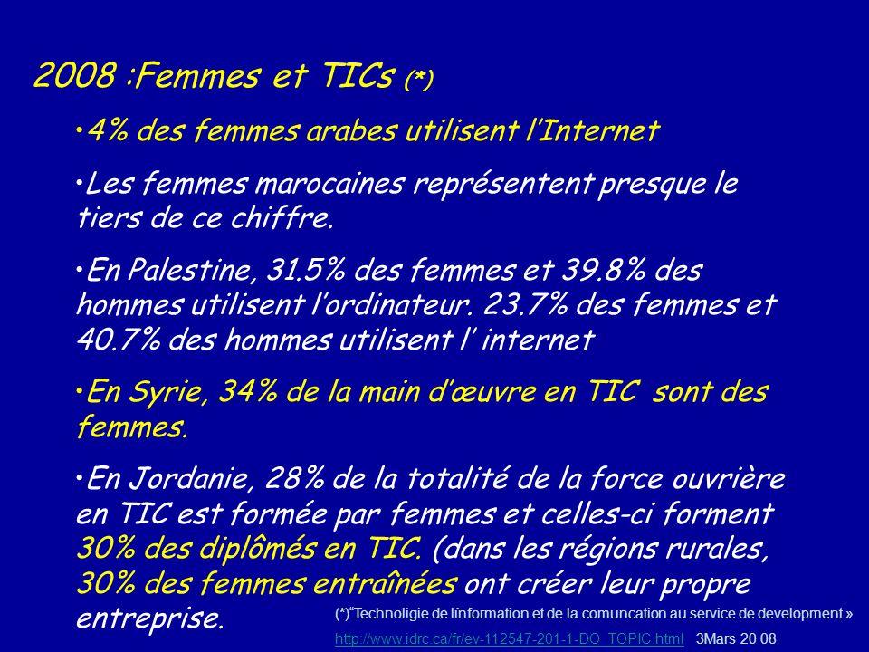 2008 :Femmes et TICs (*) 4% des femmes arabes utilisent lInternet Les femmes marocaines représentent presque le tiers de ce chiffre. En Palestine, 31.