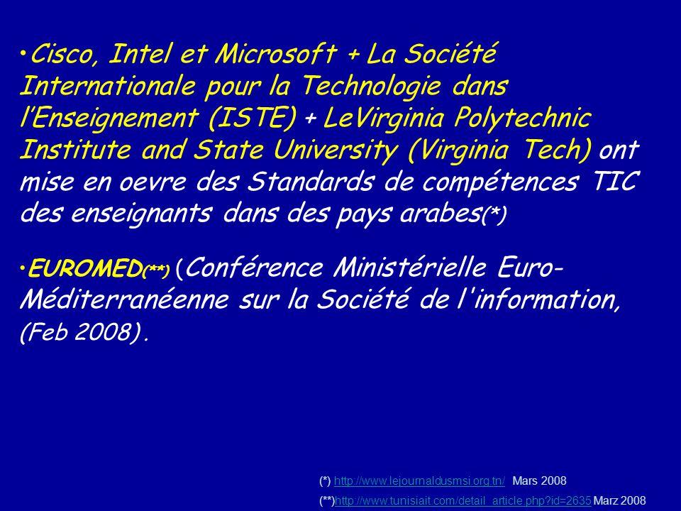 Cisco, Intel et Microsoft + La Société Internationale pour la Technologie dans lEnseignement (ISTE) + LeVirginia Polytechnic Institute and State Unive