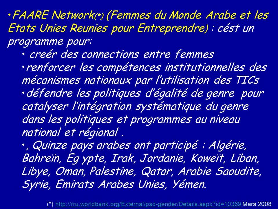 FAARE Network (*) (Femmes du Monde Arabe et les Etats Unies Reunies pour Entreprendre ) : cést un programme pour: creér des connections entre femmes r