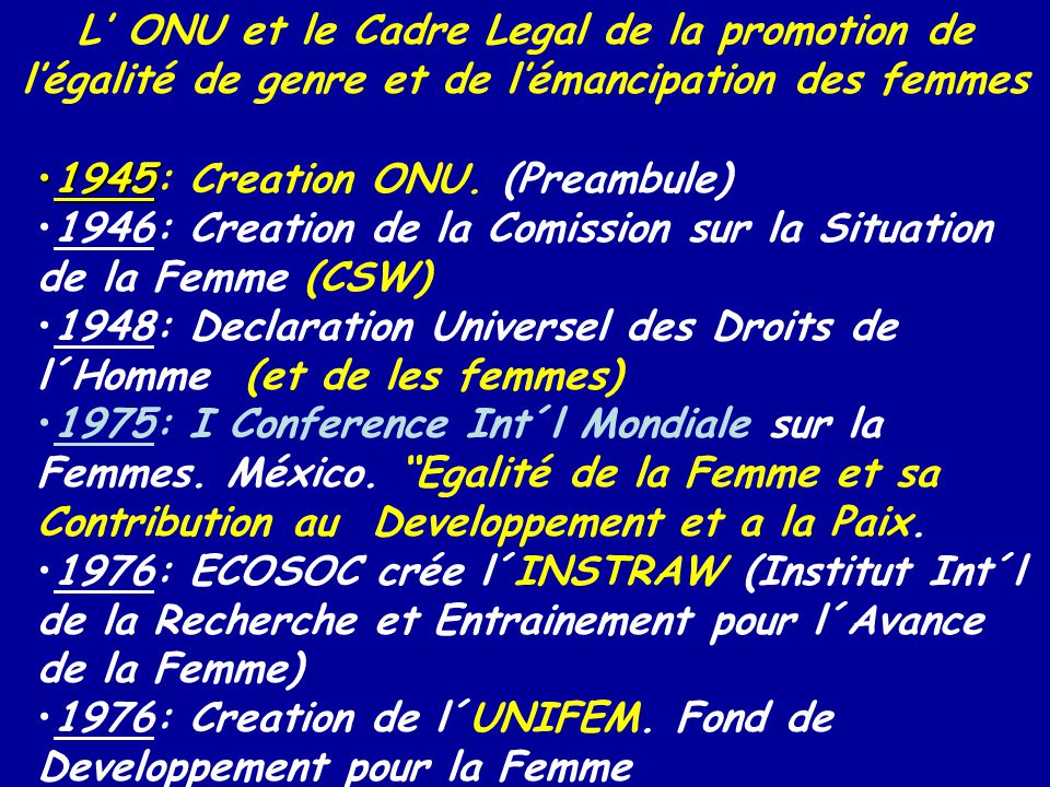 19451945: Creation ONU. (Preambule) 1946: Creation de la Comission sur la Situation de la Femme (CSW) 1948: Declaration Universel des Droits de l´Homm