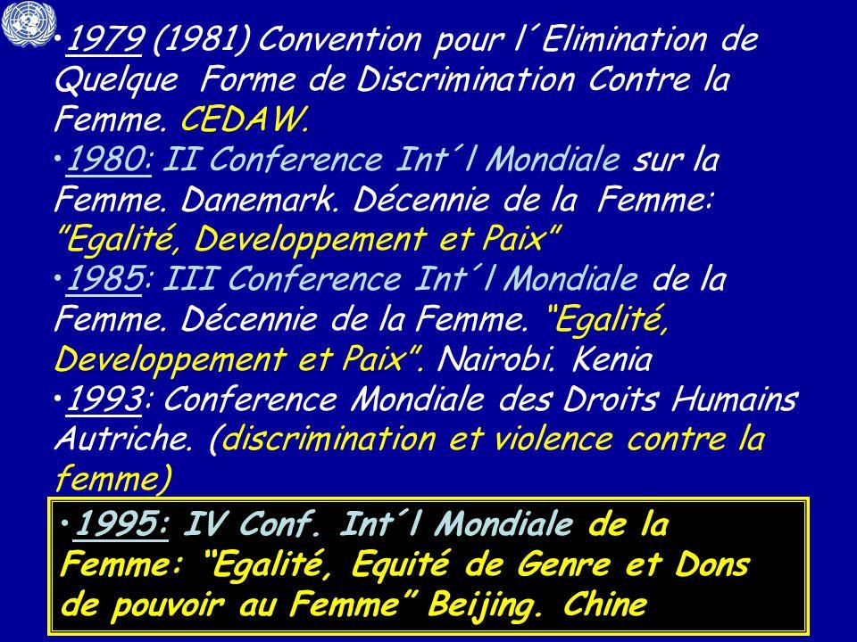 1979 (1981) Convention pour l´Elimination de Quelque Forme de Discrimination Contre la Femme.
