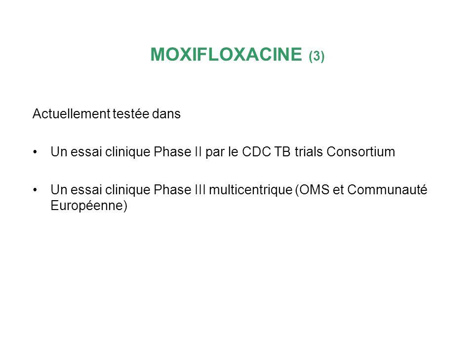 MOXIFLOXACINE (3) Actuellement testée dans Un essai clinique Phase II par le CDC TB trials Consortium Un essai clinique Phase III multicentrique (OMS