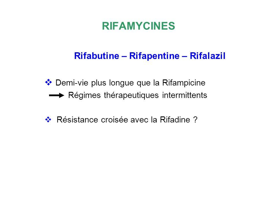 RIFAMYCINES Rifabutine – Rifapentine – Rifalazil Demi-vie plus longue que la Rifampicine Régimes thérapeutiques intermittents Résistance croisée avec