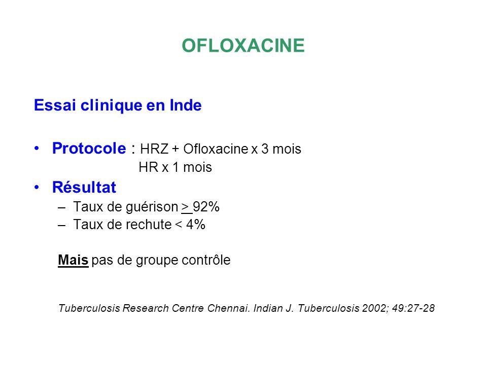 OFLOXACINE Essai clinique en Inde Protocole : HRZ + Ofloxacine x 3 mois HR x 1 mois Résultat –Taux de guérison > 92% –Taux de rechute < 4% Mais pas de