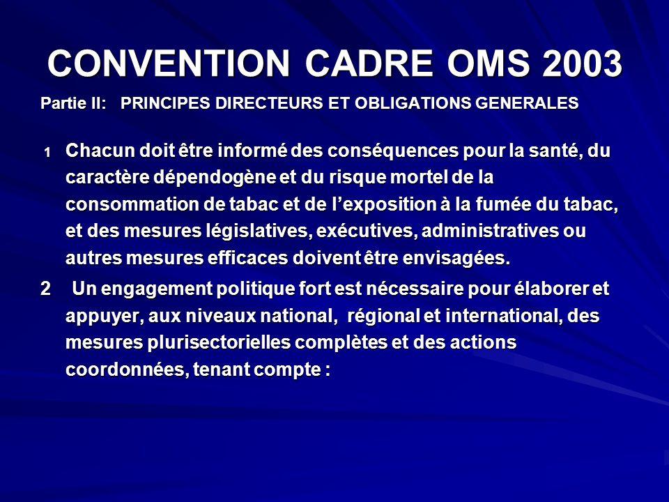 CONVENTION CADRE OMS 2003 Partie II: PRINCIPES DIRECTEURS ET OBLIGATIONS GENERALES 1 Chacun doit être informé des conséquences pour la santé, du carac