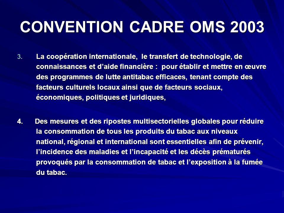 CONVENTION CADRE OMS 2003 3. La coopération internationale, le transfert de technologie, de connaissances et daide financière : pour établir et mettre