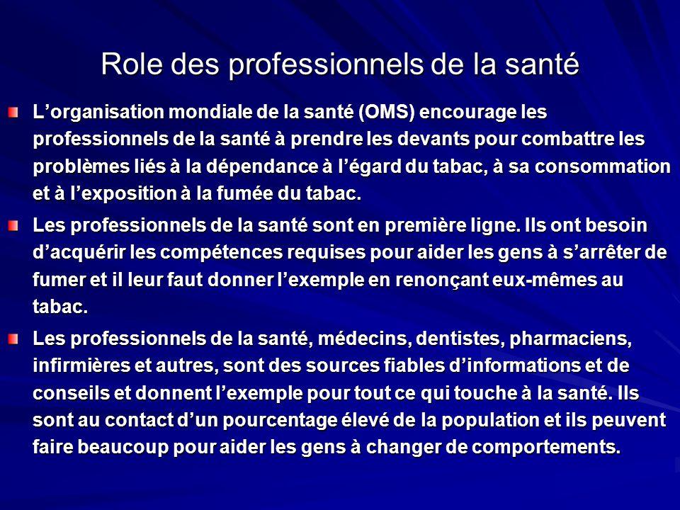 Role des professionnels de la santé Lorganisation mondiale de la santé (OMS) encourage les professionnels de la santé à prendre les devants pour comba