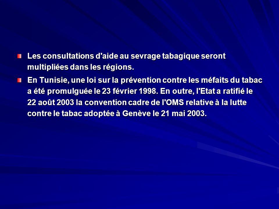 Les consultations d'aide au sevrage tabagique seront multipliées dans les régions. En Tunisie, une loi sur la prévention contre les méfaits du tabac a