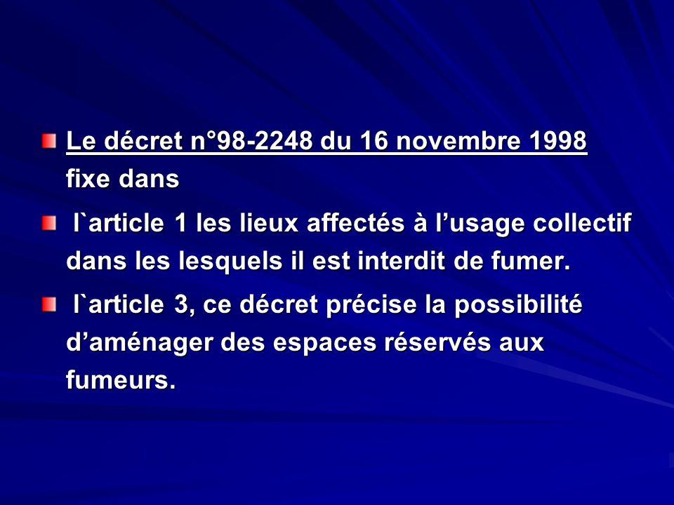 Le décret n°98-2248 du 16 novembre 1998 fixe dans l`article 1 les lieux affectés à lusage collectif dans les lesquels il est interdit de fumer. l`arti