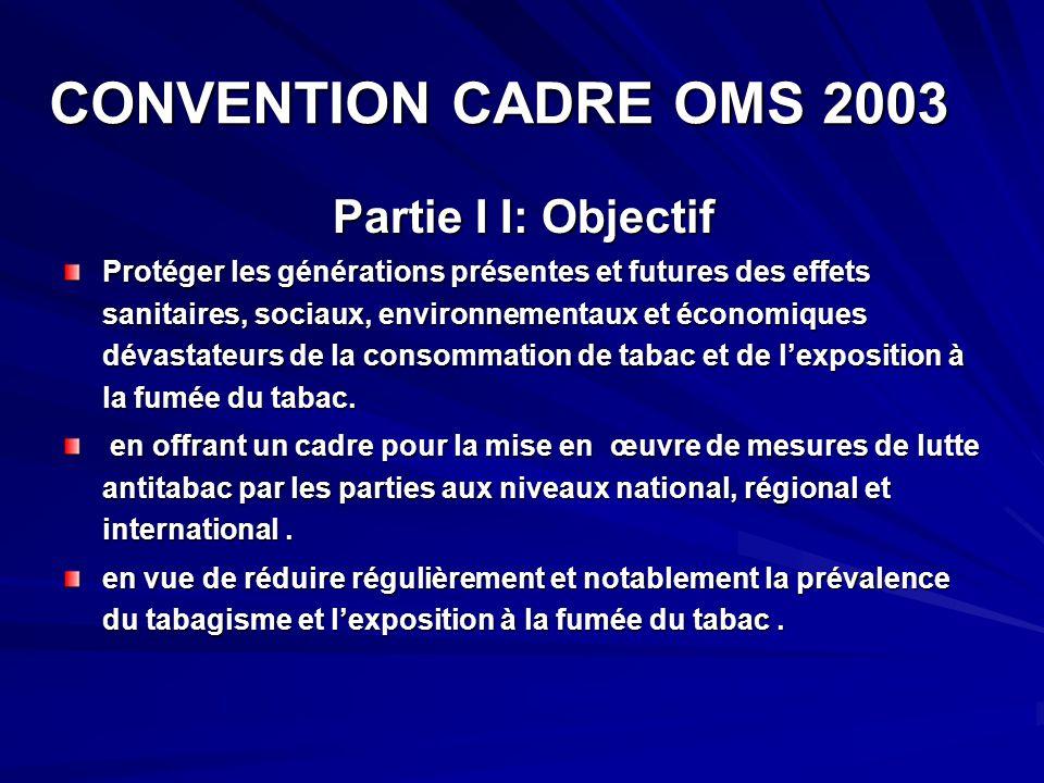 CONVENTION CADRE OMS 2003 CONVENTION CADRE OMS 2003 Partie I I: Objectif Partie I I: Objectif Protéger les générations présentes et futures des effets
