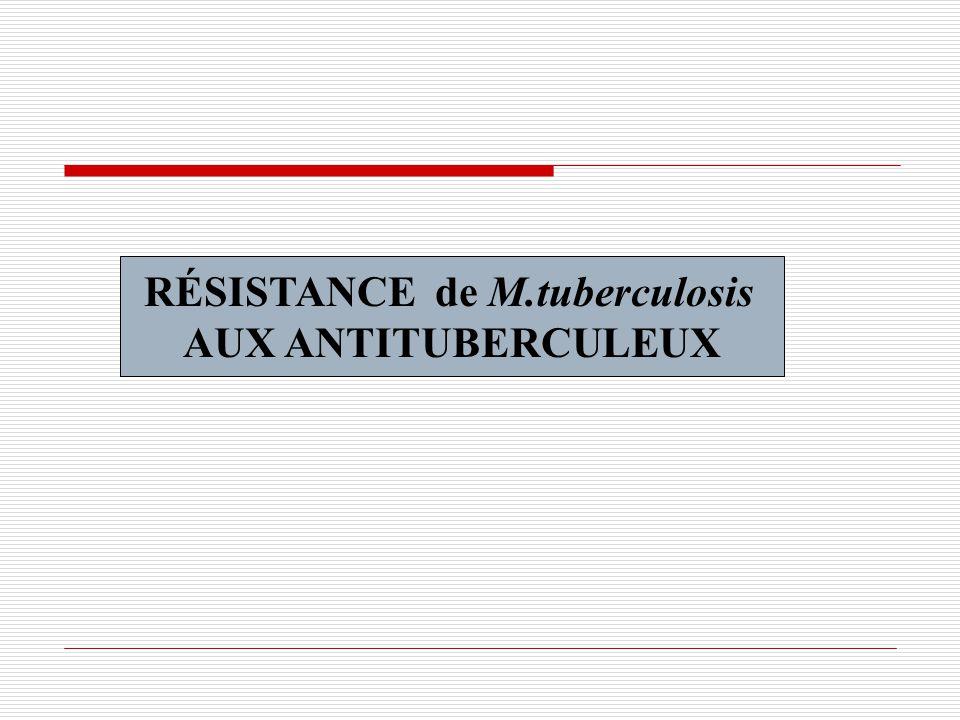 RÉSISTANCE de M.tuberculosis AUX ANTITUBERCULEUX