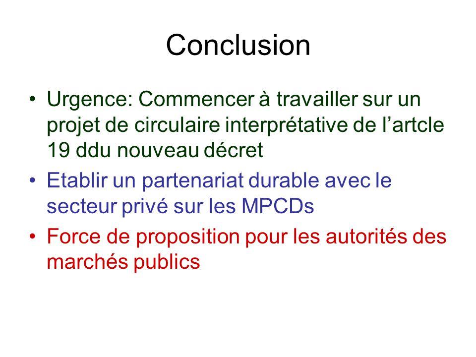 Conclusion Urgence: Commencer à travailler sur un projet de circulaire interprétative de lartcle 19 ddu nouveau décret Etablir un partenariat durable
