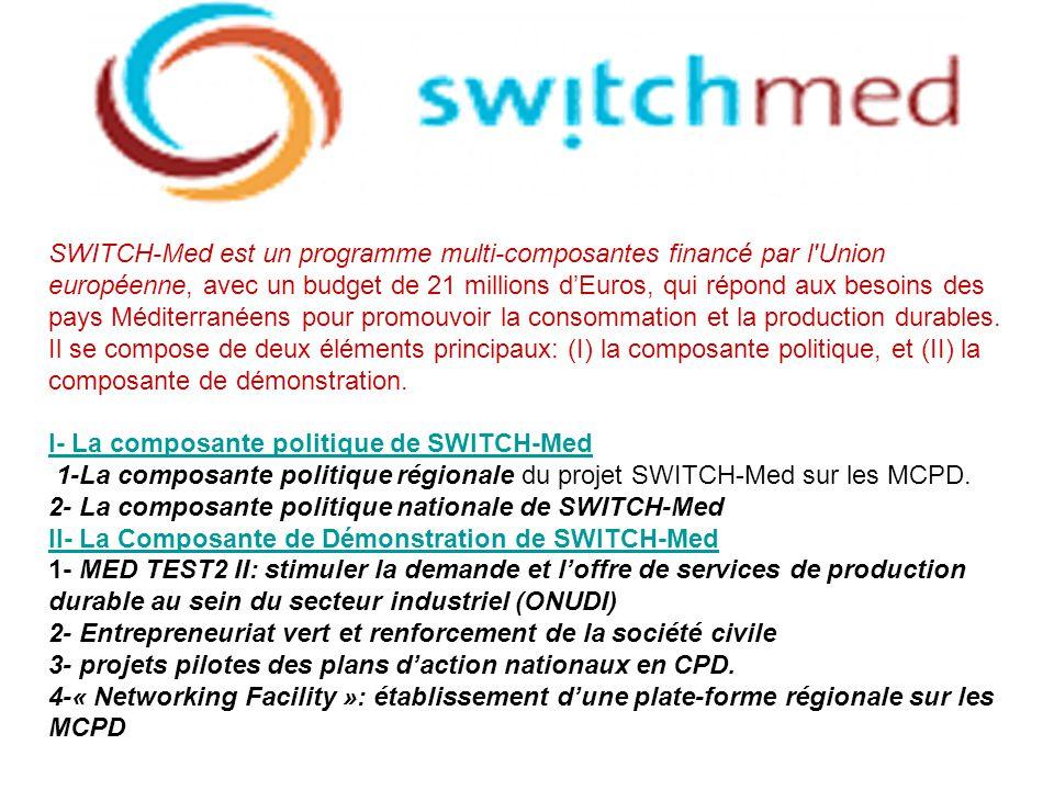 SWITCH-Med est un programme multi-composantes financé par l'Union européenne, avec un budget de 21 millions dEuros, qui répond aux besoins des pays Mé