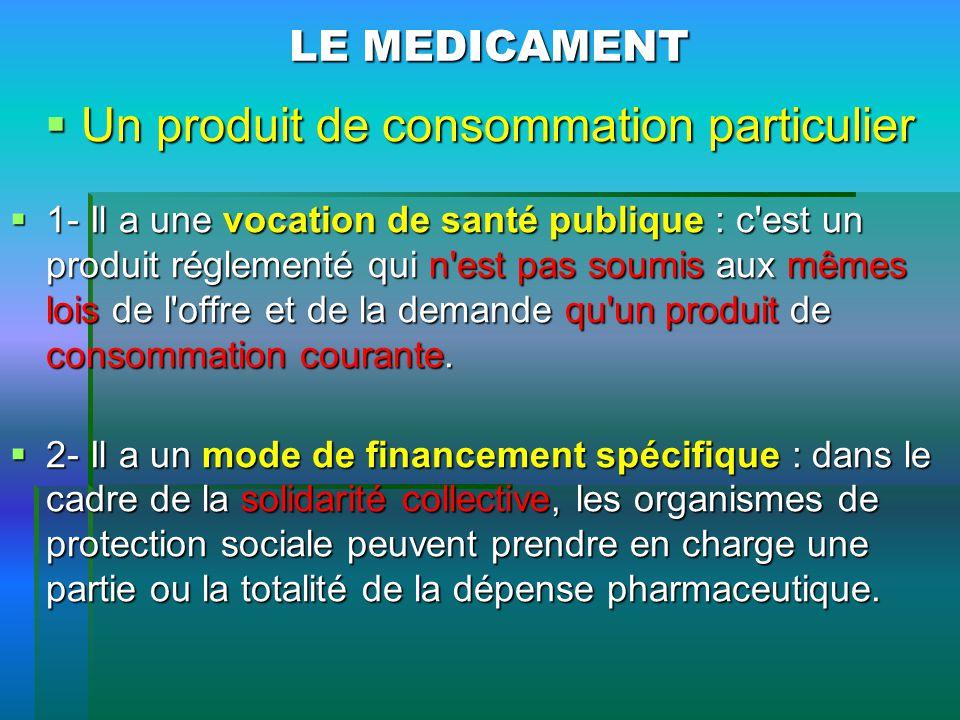 LE MEDICAMENT Un produit de consommation particulier Un produit de consommation particulier 1- Il a une vocation de santé publique : c'est un produit