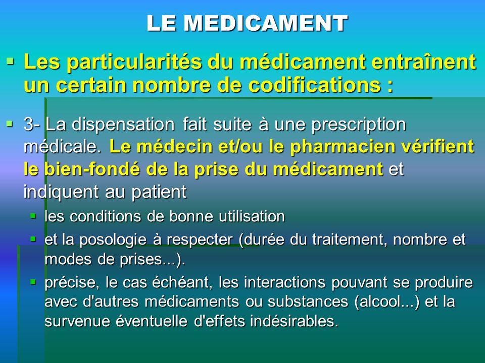 LE MEDICAMENT Les particularités du médicament entraînent un certain nombre de codifications : Les particularités du médicament entraînent un certain