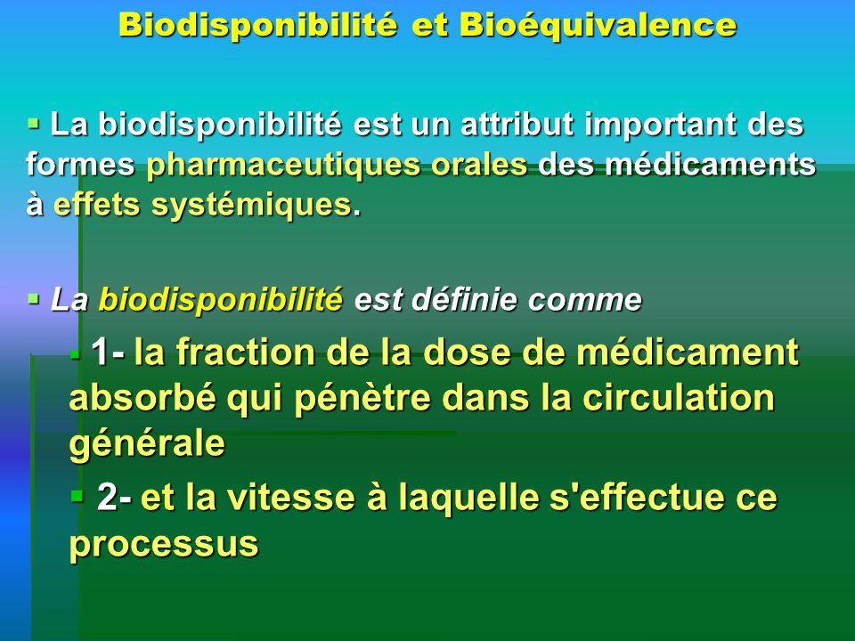 Biodisponibilité et Bioéquivalence La biodisponibilité est un attribut important des formes pharmaceutiques orales des médicaments à effets systémique