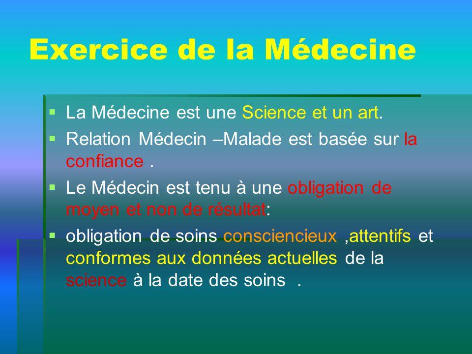 Exercice de la Médecine La Médecine est une Science et un art. Relation Médecin –Malade est basée sur la confiance. Le Médecin est tenu à une obligati