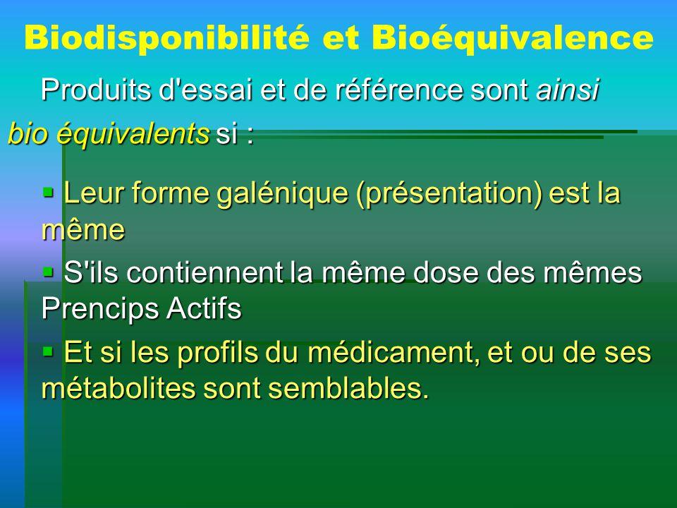 Biodisponibilité et Bioéquivalence Produits d'essai et de référence sont ainsi Produits d'essai et de référence sont ainsi bio équivalents si : Leur f