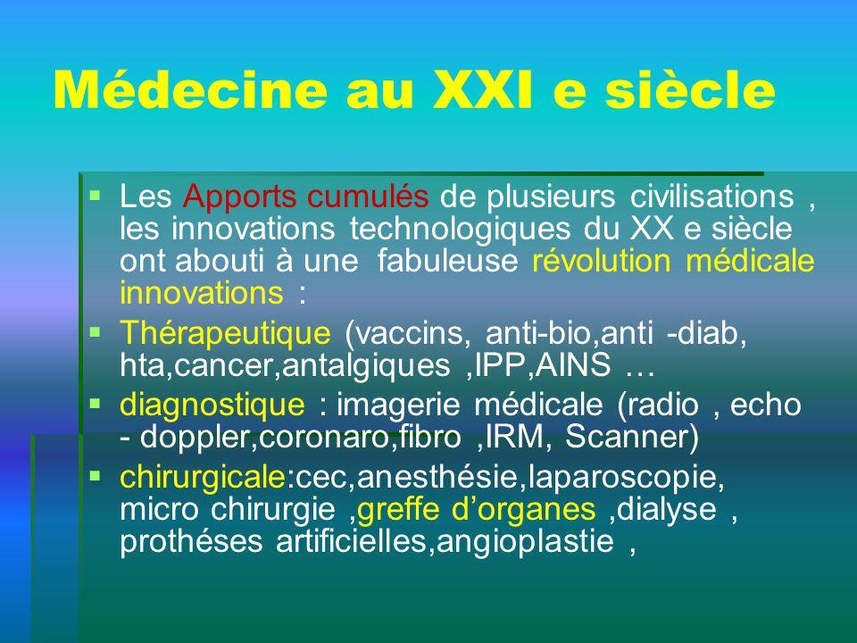 Médecine au XXI e siècle Les Apports cumulés de plusieurs civilisations, les innovations technologiques du XX e siècle ont abouti à une fabuleuse révo
