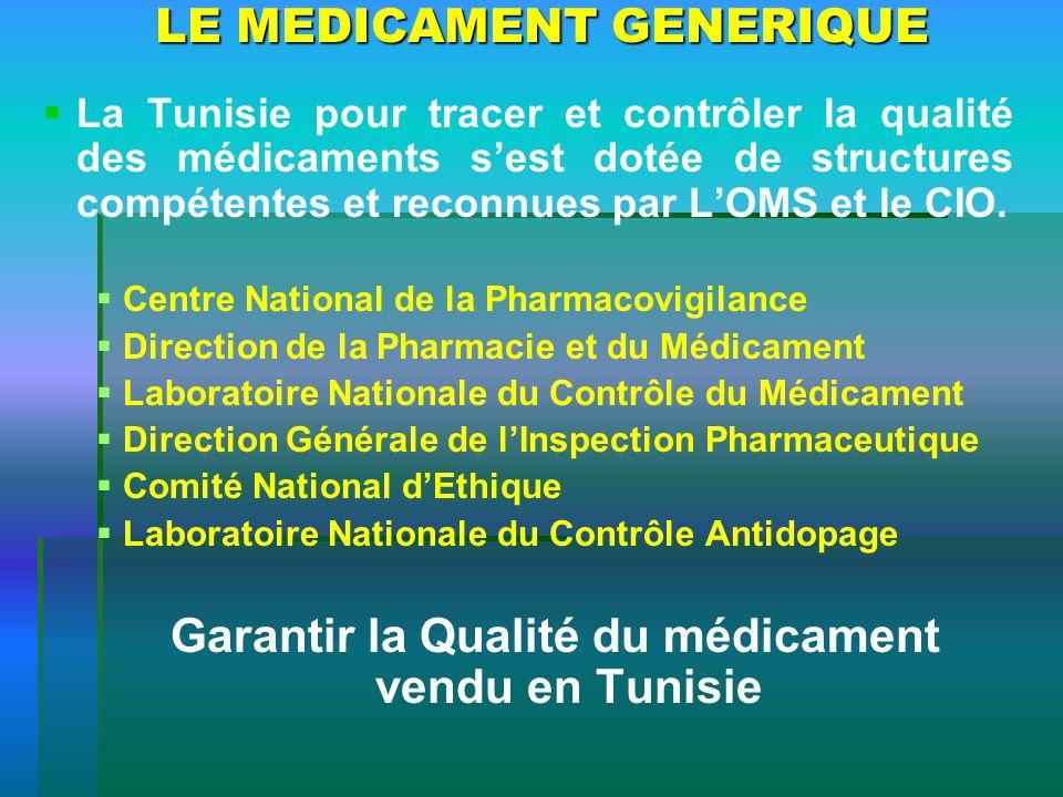 LE MEDICAMENT GENERIQUE La Tunisie pour tracer et contrôler la qualité des médicaments sest dotée de structures compétentes et reconnues par LOMS et l