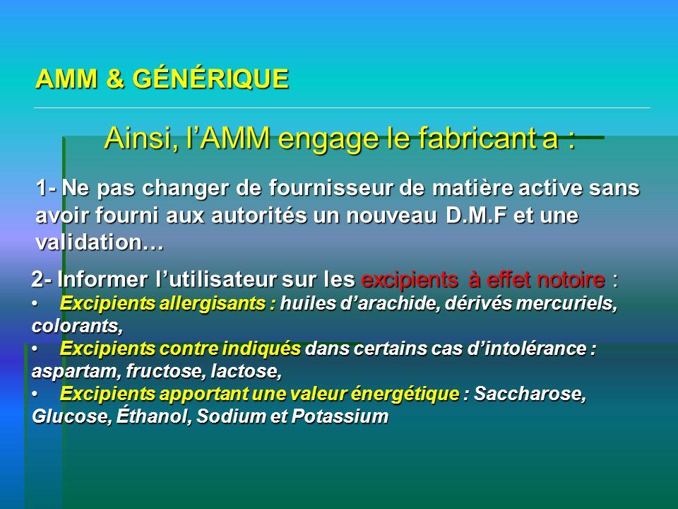 AMM & GÉNÉRIQUE Ainsi, lAMM engage le fabricant a : 1- Ne pas changer de fournisseur de matière active sans avoir fourni aux autorités un nouveau D.M.