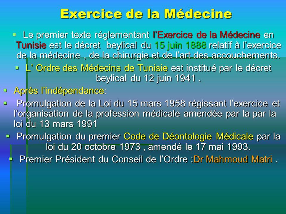 Exercice de la Médecine Le premier texte réglementant lExercice de la Médecine en Tunisie est le décret beylical du 15 juin 1888 relatif à lexercice d