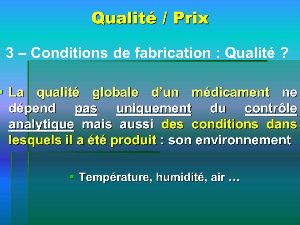 Qualité / Prix 3 – Conditions de fabrication : Qualité ? La qualité globale dun médicament ne dépend pas uniquement du contrôle analytique mais aussi