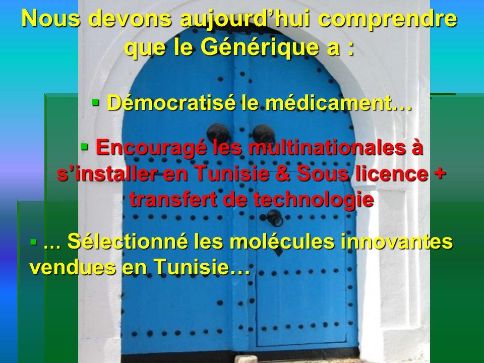 Nous devons aujourdhui comprendre que le Générique a : Démocratisé le médicament… Démocratisé le médicament… Encouragé les multinationales à sinstalle