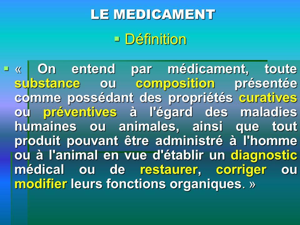 LE MEDICAMENT Définition Définition « On entend par médicament, toute substance ou composition présentée comme possédant des propriétés curatives ou p