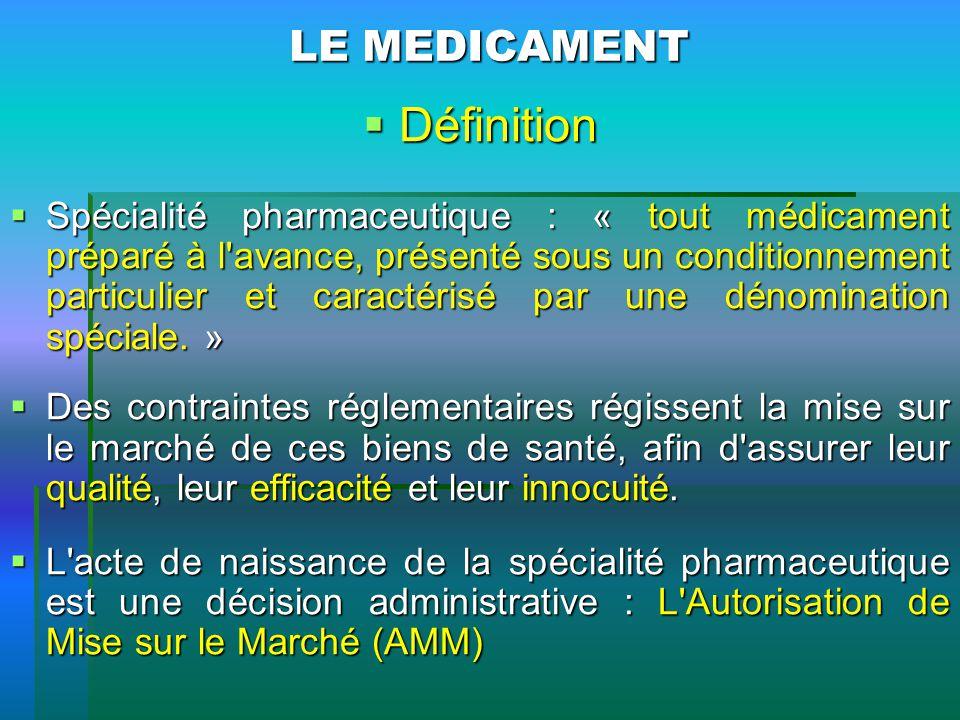 LE MEDICAMENT Définition Définition Spécialité pharmaceutique : « tout médicament préparé à l'avance, présenté sous un conditionnement particulier et