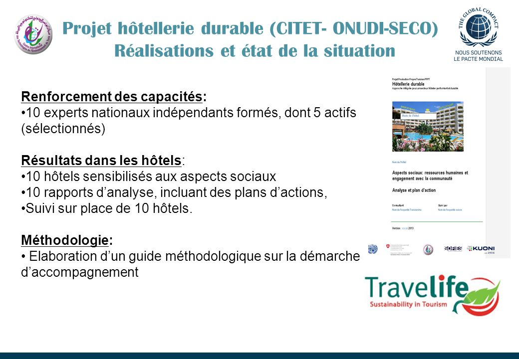 Projet hôtellerie durable (CITET- ONUDI-SECO) Réalisations et état de la situation Renforcement des capacités: 10 experts nationaux indépendants formé