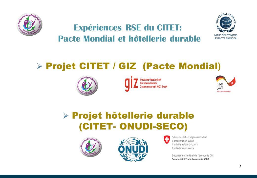 Expériences RSE du CITET: Pacte Mondial et hôtellerie durable Projet CITET / GIZ (Pacte Mondial ) Projet hôtellerie durable (CITET- ONUDI-SECO) 2