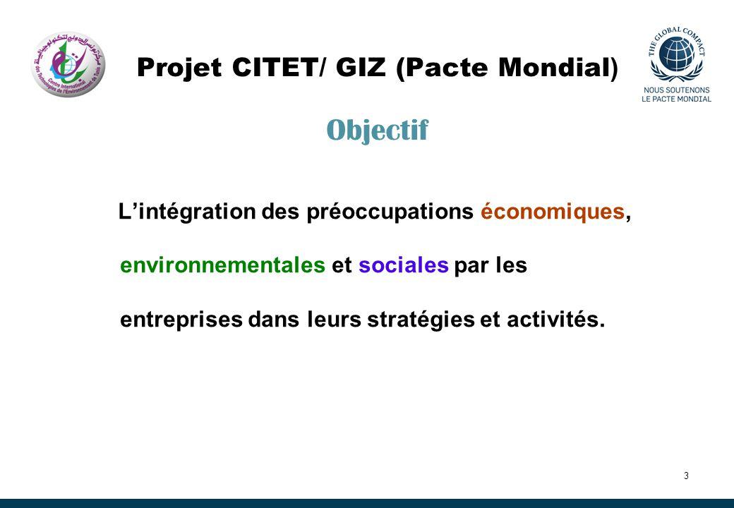 3 Projet CITET/ GIZ (Pacte Mondial ) Objectif Lintégration des préoccupations économiques, environnementales et sociales par les entreprises dans leur