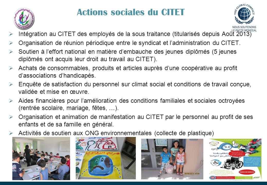 Actions sociales du CITET Intégration au CITET des employés de la sous traitance (titularisés depuis Août 2013) Organisation de réunion périodique ent