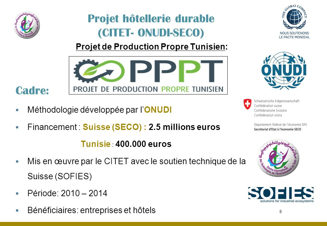 Projet de Production Propre Tunisien: Cadre: Méthodologie développée par lONUDI Financement : Suisse (SECO) : 2.5 millions euros Tunisie : 400.000 eur