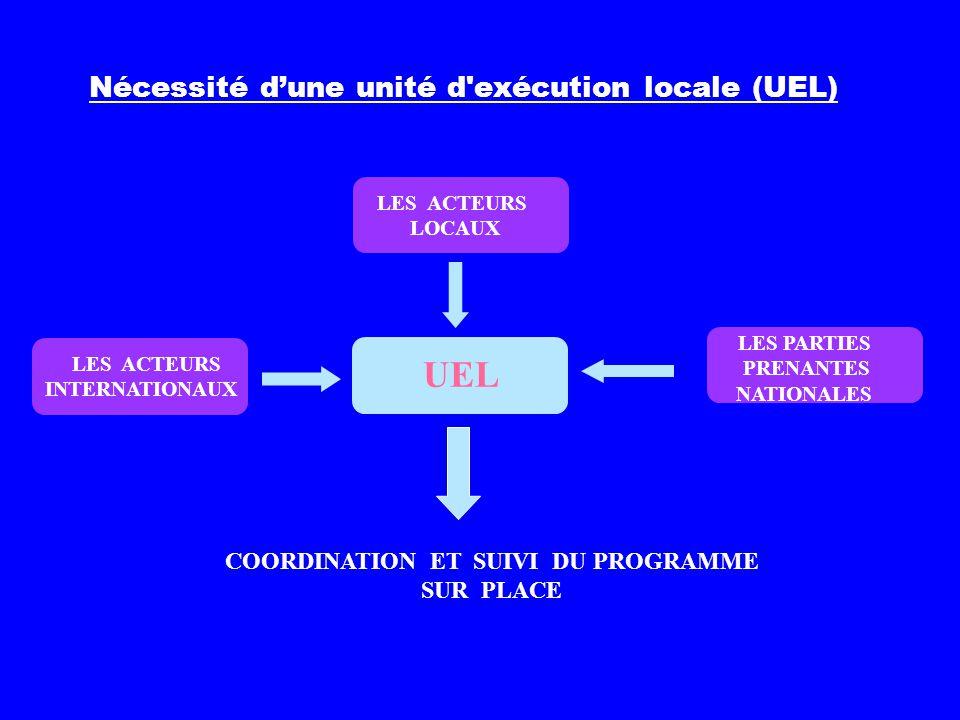 Nécessité dune unité d'exécution locale (UEL) LES PARTIES PRENANTES NATIONALES UEL COORDINATION ET SUIVI DU PROGRAMME SUR PLACE LES ACTEURS LOCAUX LES