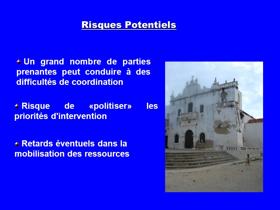 Risques Potentiels Risque de «politiser» les priorités d'intervention Retards éventuels dans la mobilisation des ressources Un grand nombre de parties