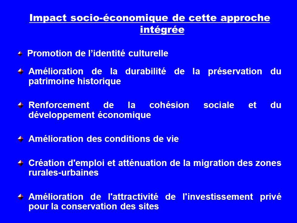 Impact socio-économique de cette approche intégrée Amélioration de la durabilité de la préservation du patrimoine historique Renforcement de la cohési