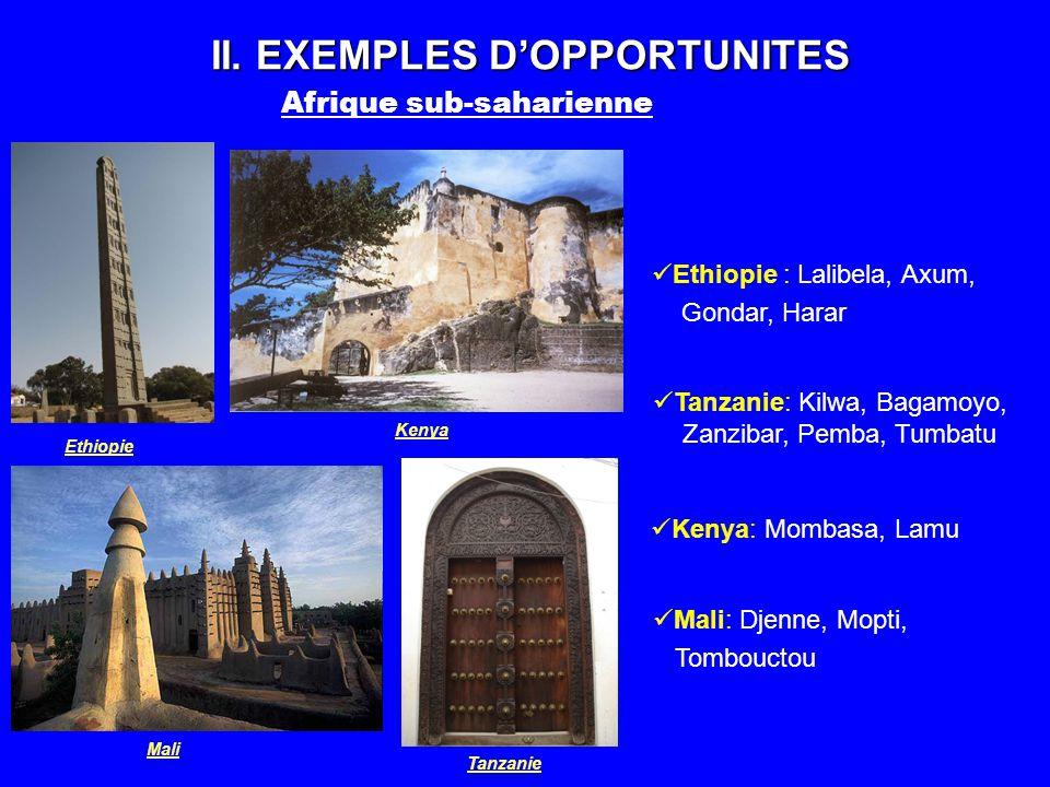 II. EXEMPLES DOPPORTUNITES Afrique sub-saharienne Ethiopie Tanzanie Kenya Mali Ethiopie : Lalibela, Axum, Gondar, Harar Tanzanie: Kilwa, Bagamoyo, Zan
