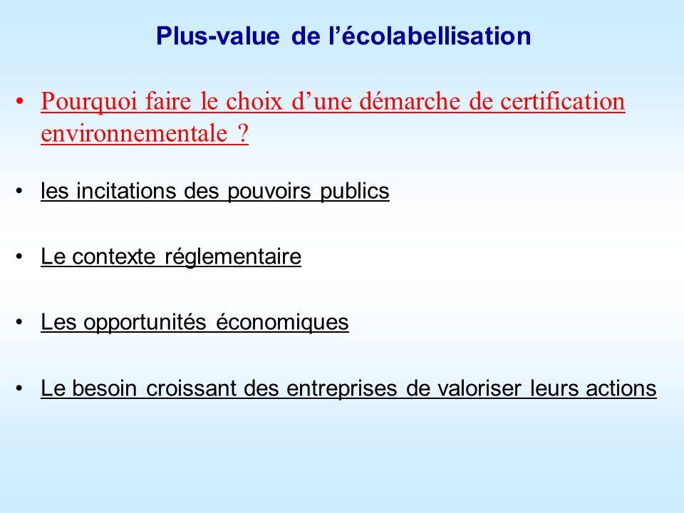 Plus-value de lécolabellisation Pourquoi faire le choix dune démarche de certification environnementale .
