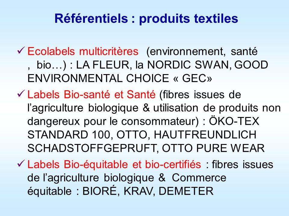 Ecolabels multicritères (environnement, santé, bio…) : LA FLEUR, la NORDIC SWAN, GOOD ENVIRONMENTAL CHOICE « GEC» Labels Bio-santé et Santé (fibres issues de lagriculture biologique & utilisation de produits non dangereux pour le consommateur) : ÖKO-TEX STANDARD 100, OTTO, HAUTFREUNDLICH SCHADSTOFFGEPRUFT, OTTO PURE WEAR Labels Bio-équitable et bio-certifiés : fibres issues de lagriculture biologique & Commerce équitable : BIORÉ, KRAV, DEMETER Référentiels : produits textiles