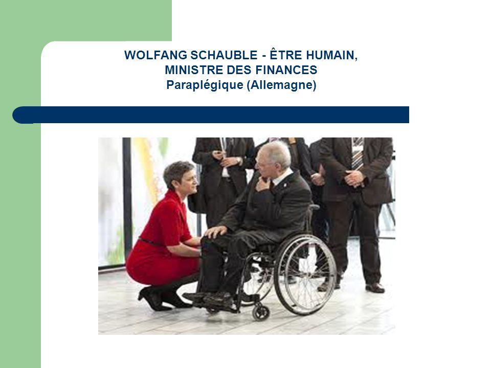 WOLFANG SCHAUBLE - ÊTRE HUMAIN, MINISTRE DES FINANCES Paraplégique (Allemagne)