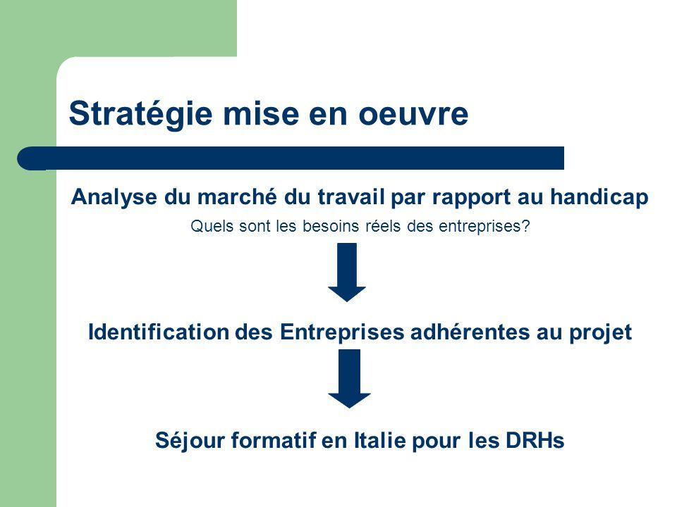 Stratégie mise en oeuvre Analyse du marché du travail par rapport au handicap Quels sont les besoins réels des entreprises.