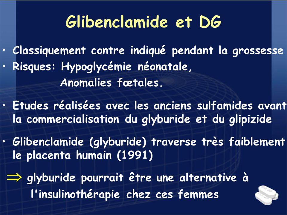 Glibenclamide et DG Classiquement contre indiqué pendant la grossesse Risques: Hypoglycémie néonatale, Anomalies fœtales. Etudes réalisées avec les an