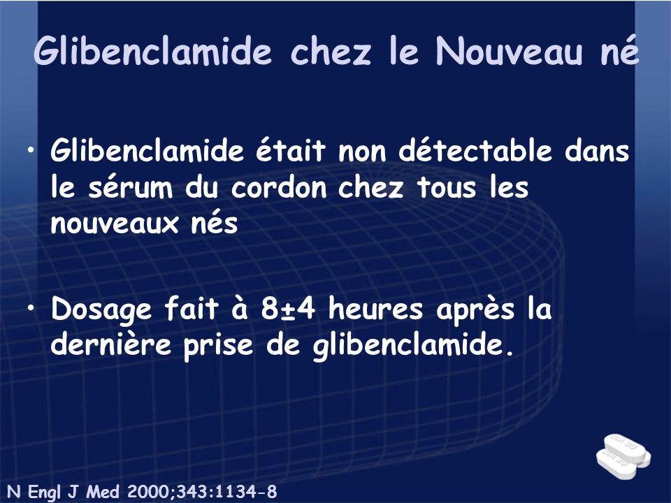 Glibenclamide chez le Nouveau né Glibenclamide était non détectable dans le sérum du cordon chez tous les nouveaux nés Dosage fait à 8±4 heures après
