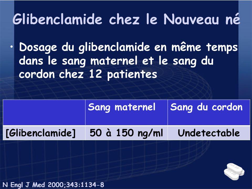 Glibenclamide chez le Nouveau né Dosage du glibenclamide en même temps dans le sang maternel et le sang du cordon chez 12 patientes Sang maternelSang