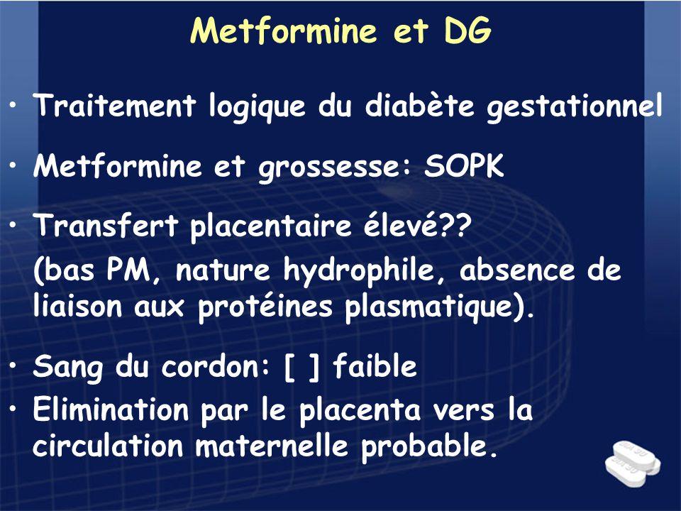 Metformine et DG Traitement logique du diabète gestationnel Metformine et grossesse: SOPK Transfert placentaire élevé?? (bas PM, nature hydrophile, ab
