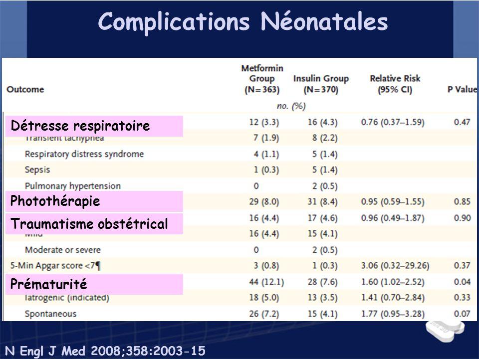 Complications Néonatales Détresse respiratoire Photothérapie Traumatisme obstétrical Prématurité N Engl J Med 2008;358:2003-15