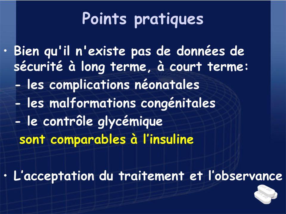 Points pratiques Bien qu'il n'existe pas de données de sécurité à long terme, à court terme: - les complications néonatales - les malformations congén