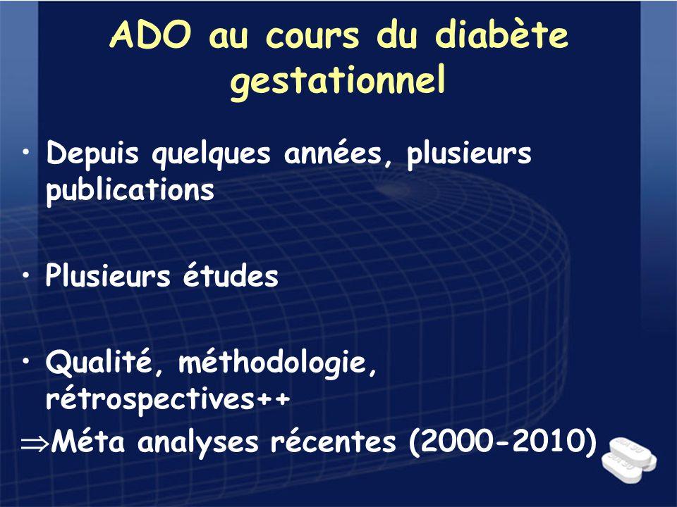 ADO au cours du diabète gestationnel Depuis quelques années, plusieurs publications Plusieurs études Qualité, méthodologie, rétrospectives++ Méta anal
